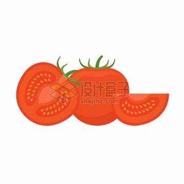 切开的西红柿美味美食扁平化风格png图片素材