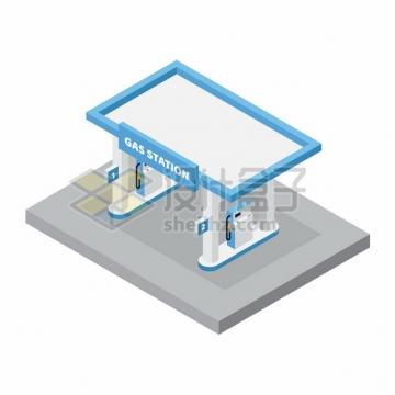 2.5D风格蓝白色的加油站png图片素材