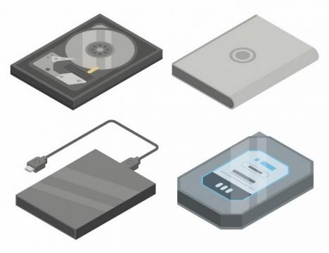 4款2.5D风格机械硬盘解剖图移动硬盘等存储设备png图片免抠矢量素材