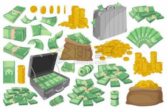 各种印有欧元符号的绿色钞票钱袋子钱箱子金币等png图片素材