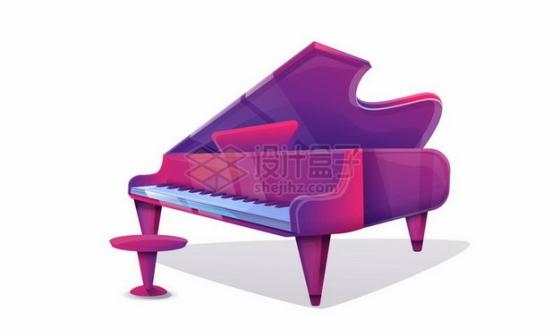 紫红色的卡通钢琴246072png图片素材