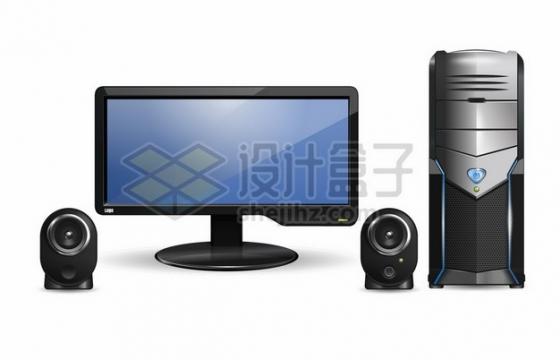 台式电脑显示器机箱和扬声器872509图片免抠矢量素材