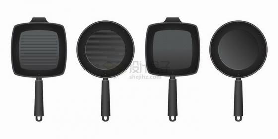 4款黑色的煎锅平底锅厨房用具png图片免抠矢量素材