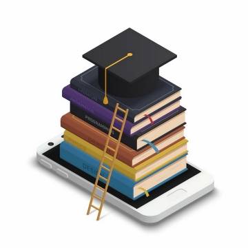 立体风格手机上堆积的书本和博士帽以及旁边的梯子象征了读书的重要性png图片免抠矢量素材