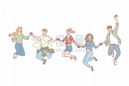 5个手牵手跳起来的年轻人手绘线条插画png图片免抠矢量素材