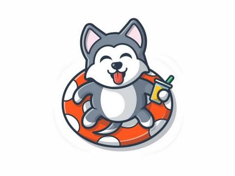 躺在游泳圈上喝着饮料的卡通哈士奇狗狗png图片免抠矢量素材