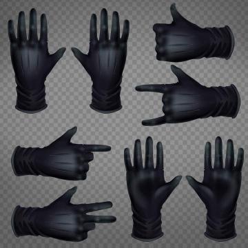 黑色手套手势图片免抠素材合集