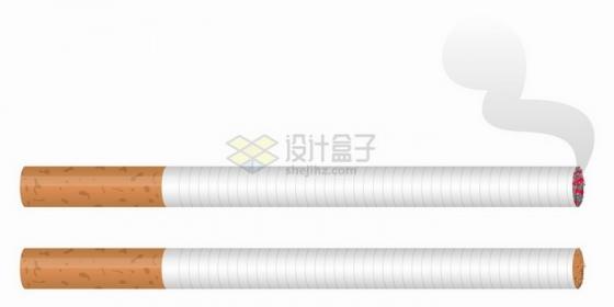 一根点燃冒烟的香烟和一根没有燃烧的png图片免抠矢量素材