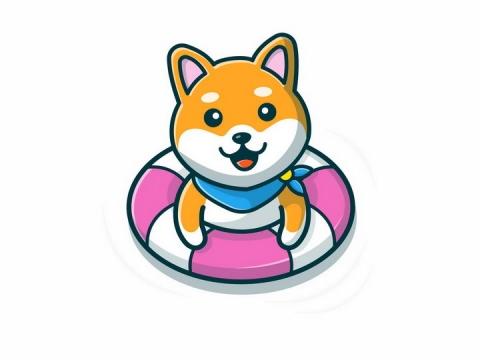趴在游泳圈上的卡通柴犬狗狗png图片免抠矢量素材