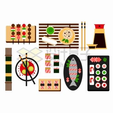 摆放整齐的日本寿司美食以及餐具俯视图png图片免抠矢量素材