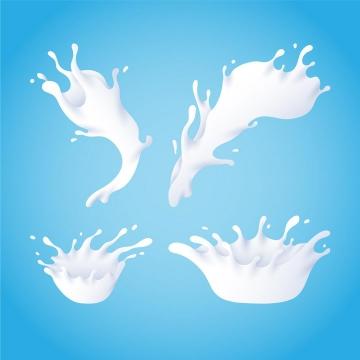 4款乳白色液体牛奶飞溅滴落效果png图片免抠矢量素材