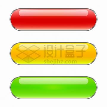 银灰色金属边框红色黄色绿色圆角水晶玻璃按钮png图片素材