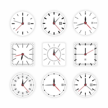 9款白色表盘的时钟手表只针分针秒针盘面png图片免抠矢量素材