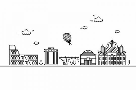 黑色线条手绘风格罗马城市建筑知名旅游城市天际线png图片免抠素材