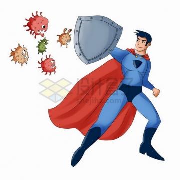 卡通超人拿着盾牌抵挡新型冠状病毒的进攻3218473png免抠图片素材