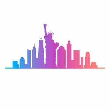 蓝色红色渐变色自由女神像帝国大厦等纽约知名建筑城市天际线剪影png图片免抠矢量素材