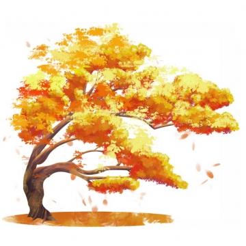 秋天金黄色的大树水彩插画946004png图片素材
