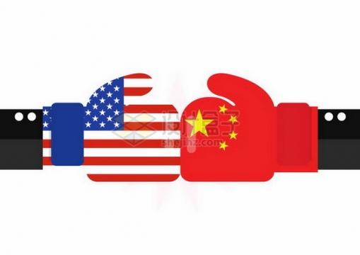 扁平化风格中国国旗和美国国旗拳头相撞中美贸易战png图片免抠矢量素材