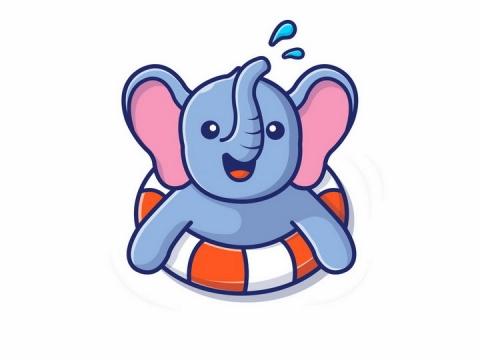 趴在游泳圈上的卡通大象png图片免抠矢量素材