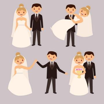 扁平化风格结婚的新人拍婚纱照的夫妻图片免抠矢量素材