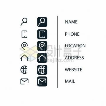 一套联系人姓名联系电话通信地址电子邮箱等网站图标909417png矢量图片素材