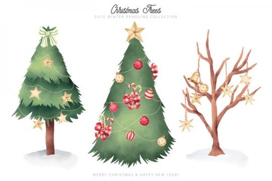 3款圣诞节圣诞树和枯萎的树枝图片免抠矢量素材