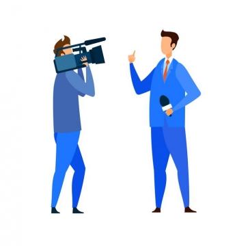 扁平插画风格扛着摄像机的摄影人员和拿着话筒的记者图片免抠素材