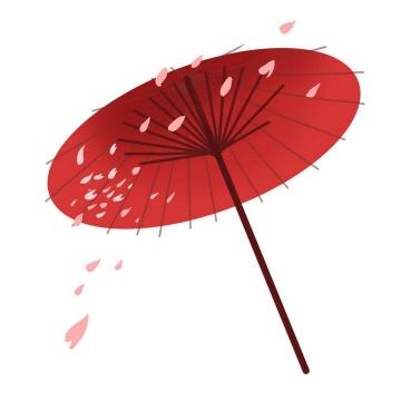 带樱花花瓣的红色雨伞油纸伞图片免抠素材