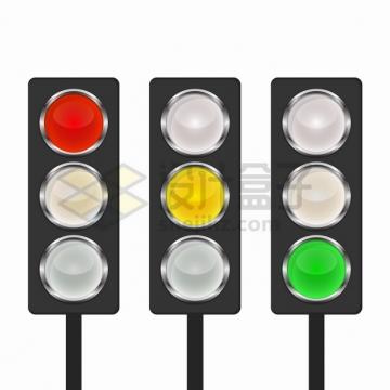 3款水晶按钮风格红绿灯交通信号灯png图片素材