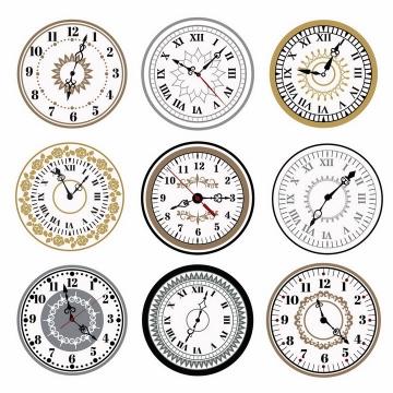 9款复古风格时钟表盘时针分钟png图片免抠矢量素材