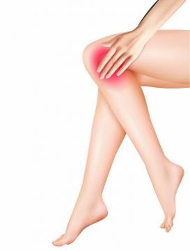 美女大长腿关节膝盖疼痛示意图png图片免抠矢量素材