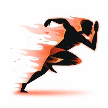 奔跑的黑色卡通人体剪影带燃烧的火焰效果png图片免抠矢量素材