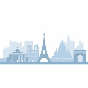 淡蓝色埃菲尔铁塔等世界知名城市建筑天际线剪影png图片免抠矢量素材
