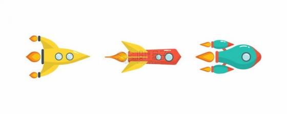 3种飞行中的卡通小火箭png图片免抠矢量素材