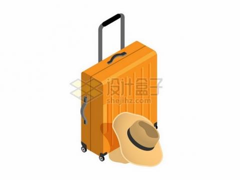橙黄色的旅行箱和草帽311626png图片素材