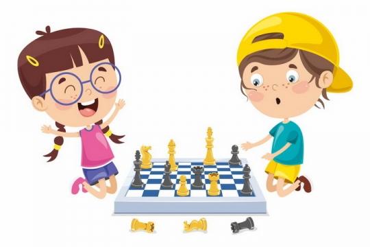 卡通女孩和男孩正在下国际象棋png图片免抠矢量素材
