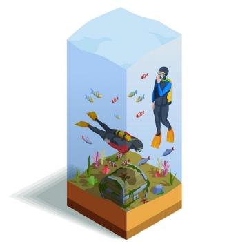 2.5D风格风格潜水员图片免抠素材