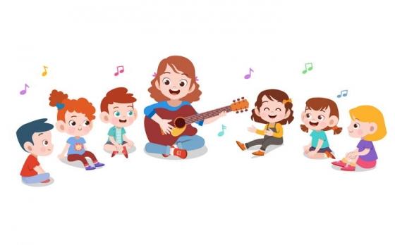 和孩子围成一圈弹吉他唱歌的卡通老师图片免抠矢量素材