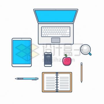 MBE风格笔记本电脑平板电脑手机咖啡铅笔记事本红苹果俯视图png图片素材