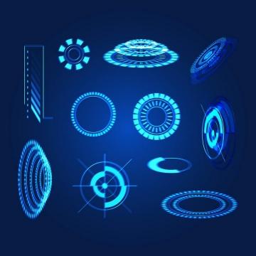 蓝色绚丽未来科技风格发光圆环图片免抠素材