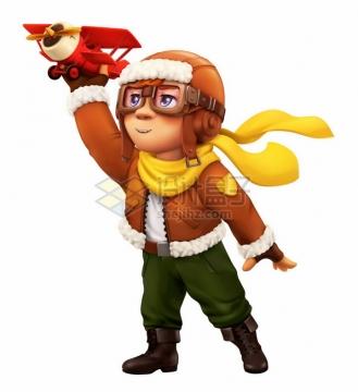 穿飞行服的卡通男孩拿着玩具飞机飞行梦想png图片素材