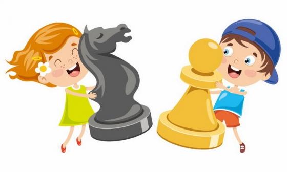 卡通男孩女孩拿着大大的国际象棋棋子png图片免抠矢量素材
