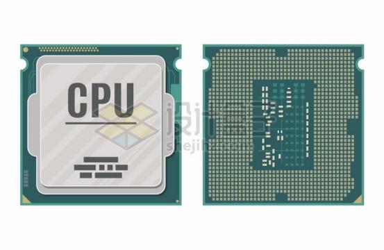 电脑处理器CPU的正反面电脑配件插画png图片免抠矢量素材