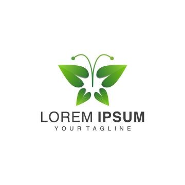 绿色树叶组成的蝴蝶logo设计方案图片免抠矢量图素材