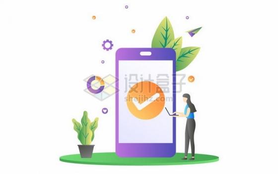 扁平插画风格正在手机上查看信息的商务女士png图片免抠矢量素材