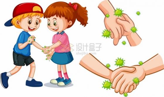 小朋友握手会造成细菌和新型冠状病毒的传播png图片素材