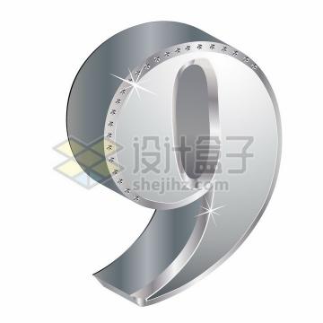 3D金属银色镶钻立体数字9png图片素材