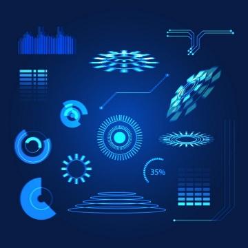 蓝色未来科技风格发光圆环图表图片免抠素材