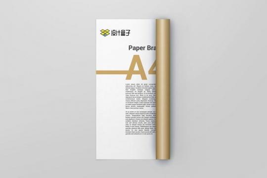 卷起来的A4纸张内容样机素材