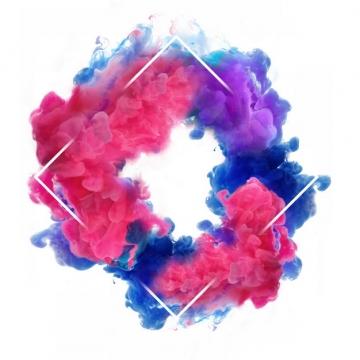 抽象蓝红色烟雾环绕的菱形边框文本框信息框标题框883251png图片免抠素材